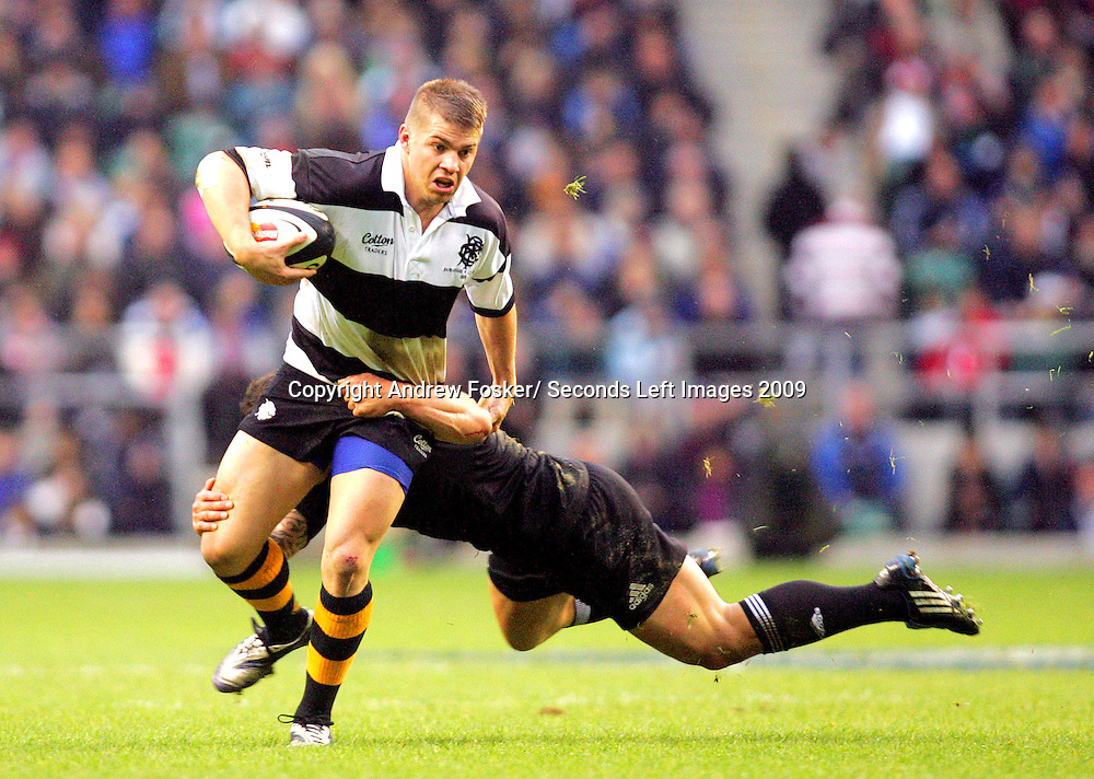 © Andrew Fosker / Seconds Left Images 2009 - Drew Mitchell (L) is tackled by a  flying Luke McAlister Barbarians v New Zealand All Blacks - Twickenham Stadium  - London - 05/12/ 2009. All rights reserved