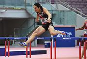Takatoshi Abe (JPN) places fifth in the 400m hurdles 49.74 during the Asian Athletics Championships in Doha, Qatar, Sunday, April 22, 2019. (Jiro Mochizuki/Image of Sport)