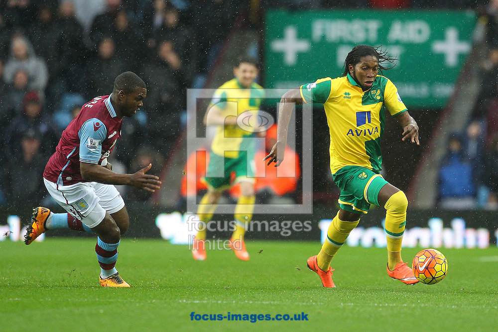 Dieumerci Mbokani of Norwich and Jores Okore of Aston Villa in action during the Barclays Premier League match at Villa Park, Birmingham<br /> Picture by Paul Chesterton/Focus Images Ltd +44 7904 640267<br /> 06/02/2016