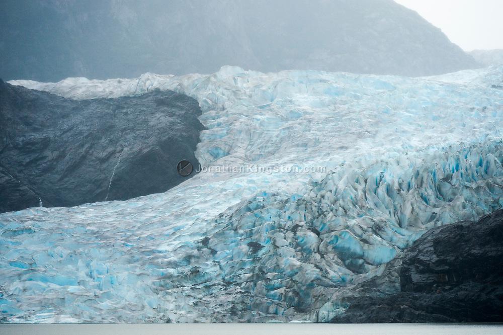 Detail of the Mendenhall Glacier on a rainy day near Juneau, Alaska.