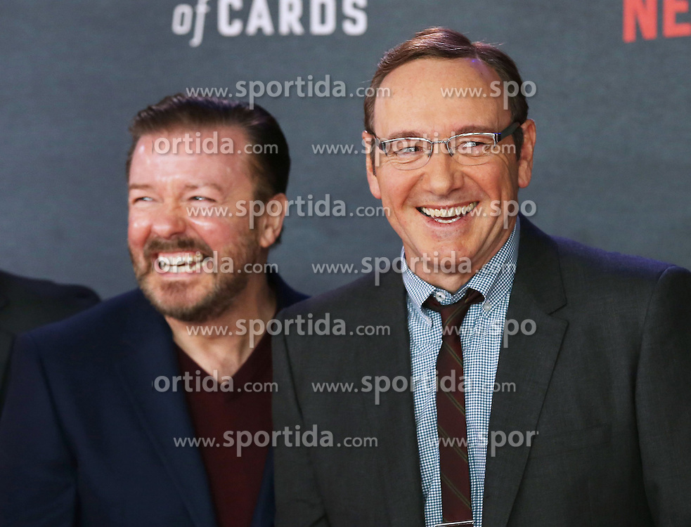 Ricky Gervais and Kevin Spacey attends the World Premiere of 'House of Cards' Season 3 at The Empire Cinema on February 26, 2015 in London, England. EXPA Pictures &copy; 2015, PhotoCredit: EXPA/ Photoshot/ James Shaw<br /> <br /> *****ATTENTION - for AUT, SLO, CRO, SRB, BIH, MAZ only*****