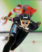 Nao Kodaira of Japan, competes in the women's 1,500-meter World Cup speedskating competition as Germany's Monique Angermuller follows at the Utah Olympic Oval in Kearns, Utah, Saturday, Feb. 19, 2011. (AP Photo/Colin E Braley)