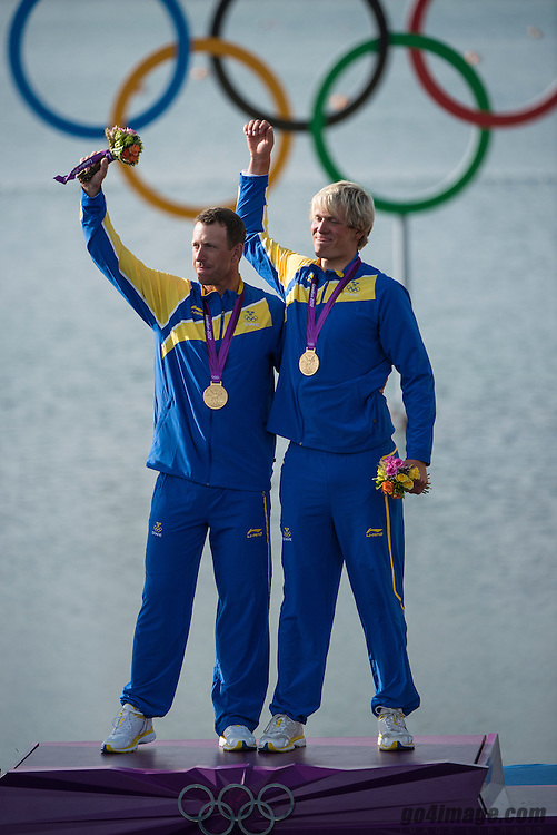 2012 Olympic Games London / Weymouth<br /> Medal Ceremony Star<br /> Loof Fredrik, Salminen Max, (SWE, Star)