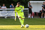 Forest Green Rovers goalkeeper Sam Russell(23) passes the ball out during the Pre-Season Friendly match between Shortwood United and Forest Green Rovers at Meadowbank Ground, Nailsworth, United Kingdom on 14 July 2017. Photo by Shane Healey.
