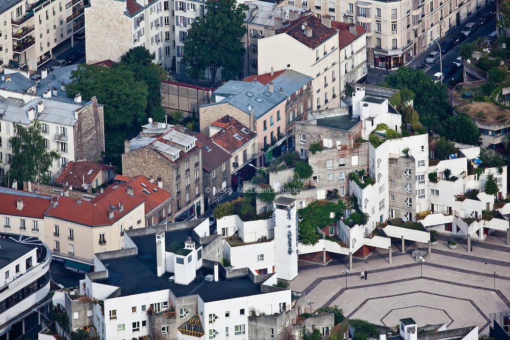 Ivry-sur-Seine, département du Val-de-Marne (94), centre-ville, interior plaza contrasts with traditional street front.