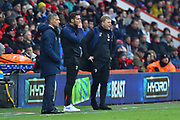 Brighton and Hove Albion manager Chris Hughton, Bournemouth assistant manager Jasdon Tindall and AFC Bournemouth manager Eddie Howe in the technical area during the The FA Cup 3rd round match between Bournemouth and Brighton and Hove Albion at the Vitality Stadium, Bournemouth, England on 5 January 2019.