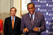 New York, NY, USA, Sep. 18th 2003: H. Carl Mc Call adressing the media at a NYSE Press Conference the day after Mr. Richard Grasso decided to step down as a Chairman for the NYSE New York Stock Exchange.<br /> <br /> H. Carl Mc Call is to substitute for Mr. Grasso temporarily. <br /> <br /> <br /> <br /> <br /> <br /> Photo: Orjan F. Ellingvag/ Dagens Naringsliv/ Corbis Sygma *** Local Caption *** , moved to edited 20061223