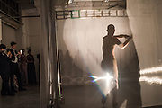 """SASHA KROHN PERFORMING WORK CALLED THE SHADOW BY TESSA KURAGI, The Veuve Clicquot Widow Series, """"A Beautiful Darkness"""" curated by Nick Knight and SHOWstudio, The College, Southampton Row, London, WC1. 28 October 2015"""