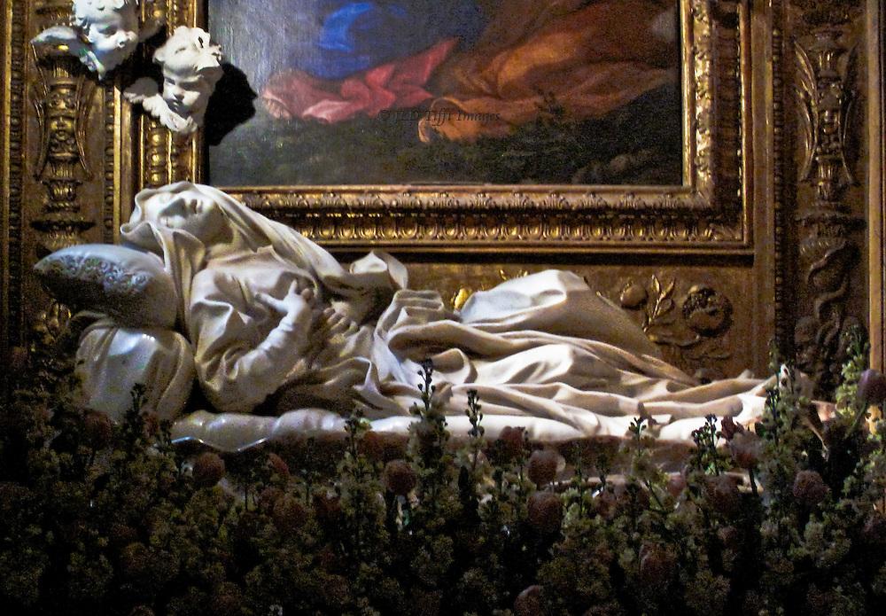 San Francesco a Ripa, Trastevere, statue of Beata Ludovica Albertoni in ecstasy, Gianlorenzo Bernini, 1674.