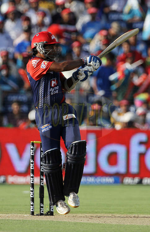 Delhi Daredevils player Mahela Jayawardene plays a shot during match 31 of the Indian Premier League ( IPL) 2012  between The Pune Warriors India and the Delhi Daredevils held at the Subrata Roy Sahara Stadium, Pune on the 24th April 2012..Photo by Vipin Pawar/IPL/SPORTZPICS