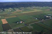 Aerial, PA farmland, Big Valley, Blue Ridge Mts. Aerial Photograph Pennsylvania