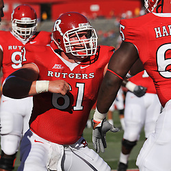 Sep 19, 2009; Piscataway, NJ, USA; Rutgers center Ryan Blaszczyk (61) warms up before the first half of NCAA college football between Rutgers and Florida International at Rutgers Stadium.