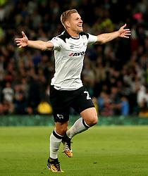 Matej Vydra of Derby County celebrates scoring a goal to make it 1-0 - Mandatory by-line: Robbie Stephenson/JMP - 08/09/2017 - FOOTBALL - Pride Park Stadium - Derby, England - Derby County v Hull City - Sky Bet Championship