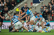 Twickenham, United Kingdom. Tomas CUBELLI, passes the ball from the ruck, during the Old Mutual Wealth Series Rest Match: England vs Argentina, at the RFU Stadium, Twickenham, England, <br /> <br /> Saturday  26/11/2016<br /> <br /> [Mandatory Credit; Peter Spurrier/Intersport-images]