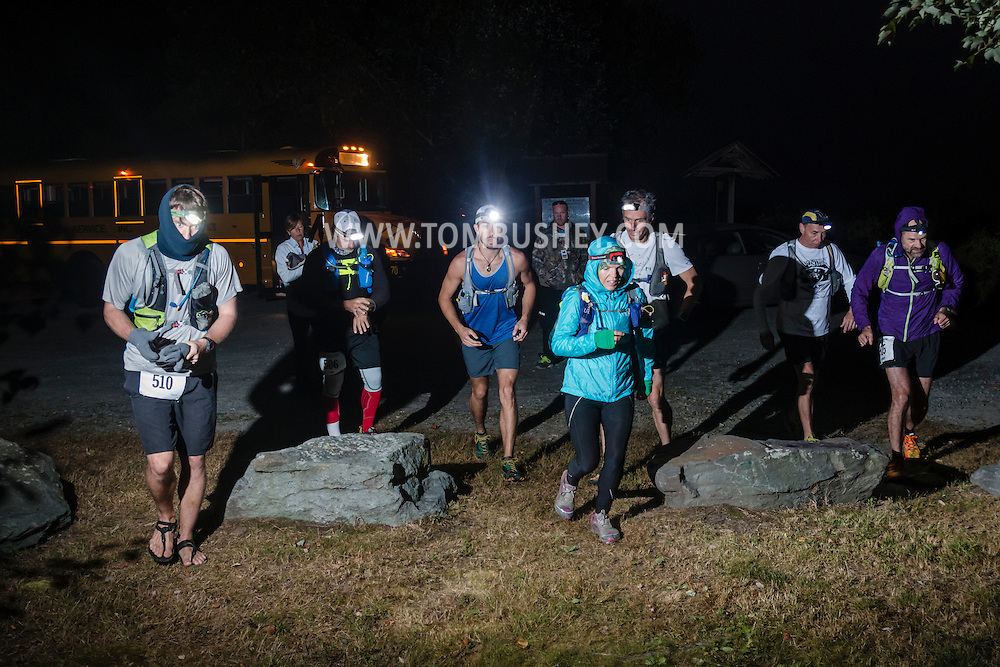 Mamakating, New York - Scenes from the start of the Shawangunk Ridge Trail Run/Hike  50-mile race on Sept. 17, 2016.