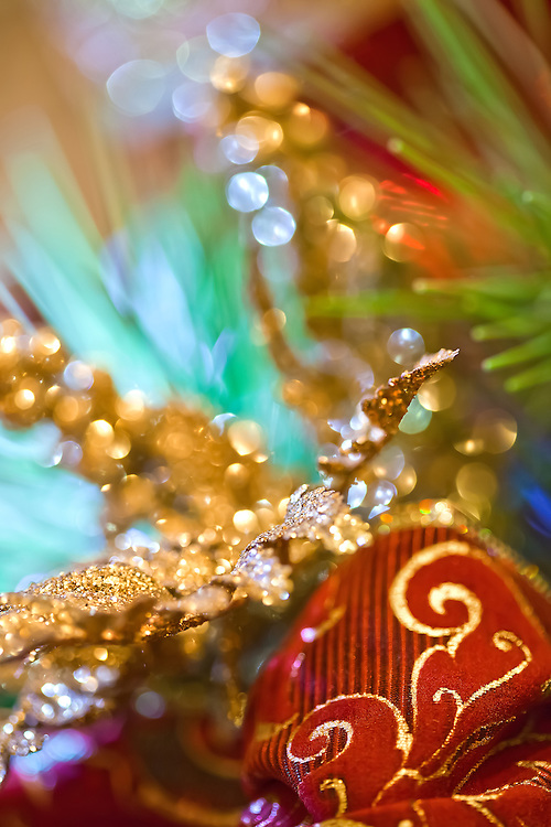 Christmas ribbon close up with shallow depth of field for a Christmas sparkle.