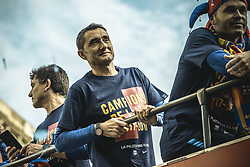 April 30, 2018 - Barcelona, Catalonia, Spain - FC Barcelona head coach ERNESTO VALVERDE and the departing FC Barcelona midfielder A. INIESTA during the FC Barcelona's open top bus victory parade after winning the LaLiga with their eighth double in the club history (Credit Image: © Matthias Oesterle via ZUMA Wire)