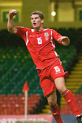 CARDIFF, WALES - Friday, September 5, 2008: Wales' Sam Vokes celebrates scoring a late winning goal against Azerbaijan during the opening 2010 FIFA World Cup South Africa Qualifying Group 4 match at the Millennium Stadium. (Photo by Gareth Davies/Propaganda)