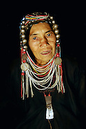 Burma/Myanmar. Portrait of an elderly Akha woman.