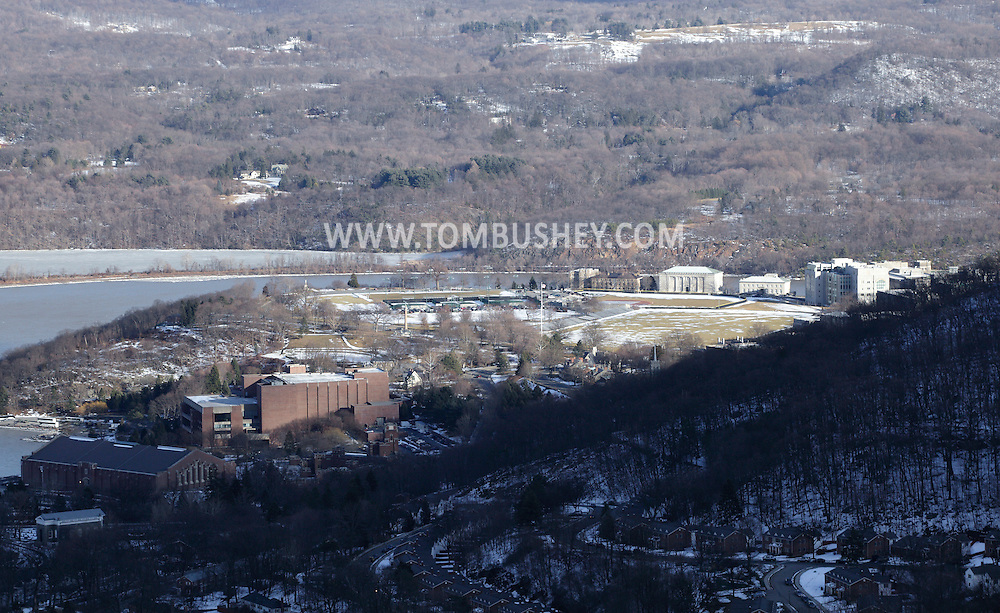 West Point, New York - A view of the United States Military Academy from the Route 9W overlook on Feb. 20, 2010. The fieldhouse and Eisenhower Hall are visible at left. The Hudson River and the hills of Putnam County are in the background. © Tom Bushey / The Image Works