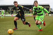 Forest Green Rovers George Williams(11) trakes on Yeovil Towns Alex Pattison(17) during the EFL Sky Bet League 2 match between Forest Green Rovers and Yeovil Town at the New Lawn, Forest Green, United Kingdom on 16 February 2019.