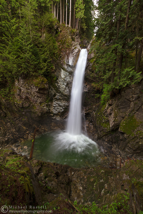 Cascade Falls from the secondary viewing platform in Cascade Falls Regional Park near Durieu, British Columbia, Canada