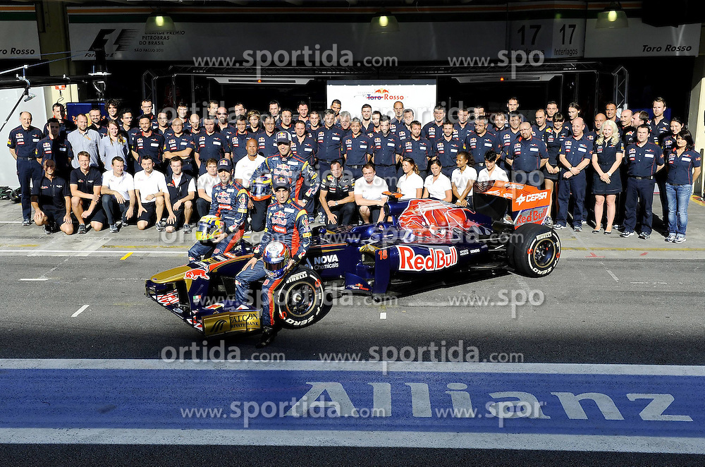 24.11.2011, Autodromo Jose Carlos Pace, Sao Paulo, BRA, F1, Grosser Preis von Brasilien, im Bild Franz Tost (AUT), Scuderia Toro Rosso, Team Principal - Jaime Alguersuari (ESP), Scuderia Toro Rosso - Sebastien Buemi (SUI), Scuderia Toro Rosso // during the Formula One Championships 2011 Grand Prix of Brazil held at the Autodromo Jose Carlos Pace, Sao Paulo, Barzil on 2011/11/24..***** ATTENTION - OUT OF GER, CRO *****
