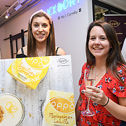 Lou, Trinity from the Oppo party to launch its new Madagascan Vanilla, Sicilian Lemon and Raspberry Cheesecakes, served with Skinny Prosecco at Farm Girls Café, 1 Carnaby Street, Soho, London, UK on July 18 2018.