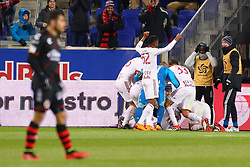 March 13, 2018 - Harrison, NJ, U.S. - HARRISON, NJ - MARCH 13:  New York Red Bulls midfielder Alejandro Romero Gamarra (10) celebrates with teammates after scoring during the second half of the CONCACAF Champions League Quarter-final match between the New York Red Bulls and Club Tijuana on March 13, 2018, at Red Bull Arena in Harrison, NJ.  (Photo by Rich Graessle/Icon Sportswire) (Credit Image: © Rich Graessle/Icon SMI via ZUMA Press)