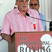 Announcer Al Bernstein speaks to fans during the 23rd Annual induction weekend opening ceremony at the International Boxing Hall of Fame on Thursday, June 7, 2012 in Canastota, NY. (AP Photo/Alex Menendez)