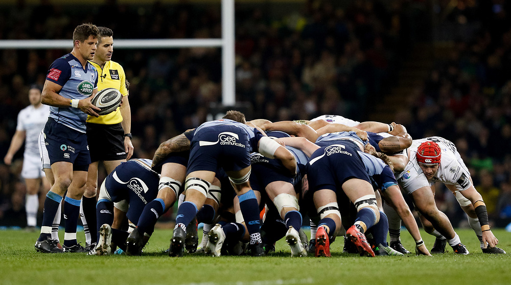 Cardiff Blues' Lloyd Williams waits to put in to the scrum<br /> <br /> Photographer Simon King/Replay Images<br /> <br /> Guinness PRO14 Round 21 - Cardiff Blues v Ospreys - Saturday 28th April 2018 - Principality Stadium - Cardiff<br /> <br /> World Copyright © Replay Images . All rights reserved. info@replayimages.co.uk - http://replayimages.co.uk