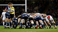 Cardiff Blues' Lloyd Williams waits to put in to the scrum<br /> <br /> Photographer Simon King/Replay Images<br /> <br /> Guinness PRO14 Round 21 - Cardiff Blues v Ospreys - Saturday 28th April 2018 - Principality Stadium - Cardiff<br /> <br /> World Copyright &copy; Replay Images . All rights reserved. info@replayimages.co.uk - http://replayimages.co.uk