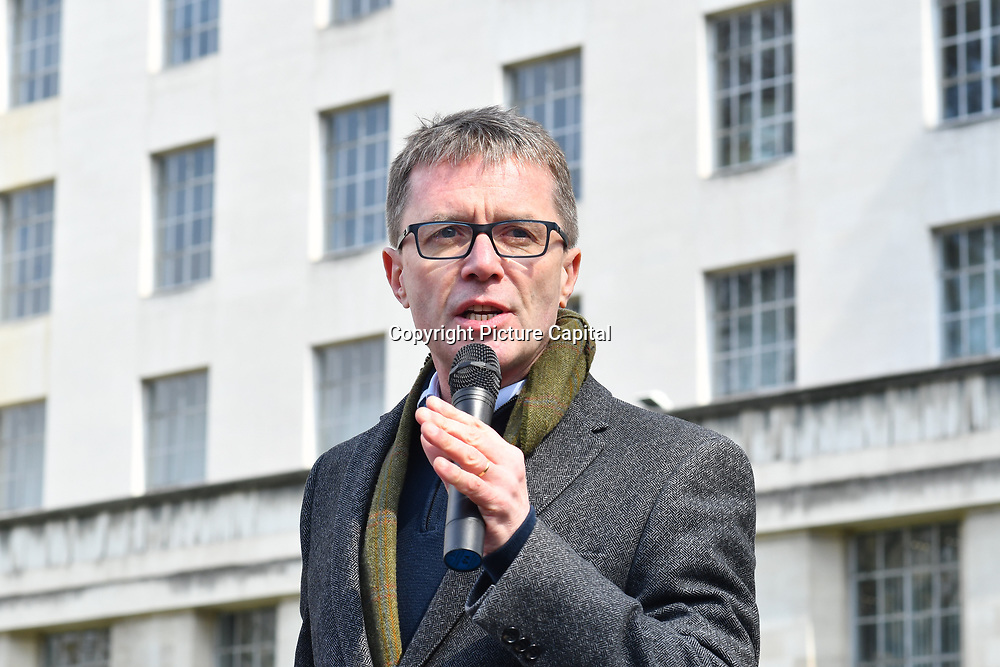 Speaker Nicky Campbell rally at the 5th Global March for Elephants and Rhinos march against extinction and trophy hunting murdering and killing animals for blood spots and ivory trade outside downing street on 13 April 2019, London, UK.