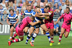 Luke Arscott of Bath Rugby takes on the London Welsh defence - Photo mandatory by-line: Patrick Khachfe/JMP - Mobile: 07966 386802 13/09/2014 - SPORT - RUGBY UNION - Bath - The Recreation Ground - Bath Rugby v London Welsh - Aviva Premiership