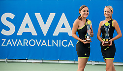 Spela Kosi and Tadeja Dolinsek posing with Trophies during Day 9 of ATP Challenger Zavarovalnica Sava Slovenia Open 2018, on August 11, 2018 in Sports centre, Portoroz/Portorose, Slovenia. Photo by Vid Ponikvar / Sportida