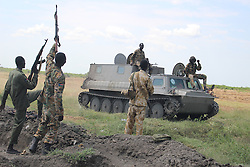 MALAKAL, Oct. 17, 2016 (Xinhua) -- Photo taken on Oct. 16, 2016 shows South Sudan's government soldiers at the battle field in Alelo near South Sudan's northern town of Malakal. Fresh clashes between government and opposition forces near the northern town of Malakal have killed at least 56 over the weekend, a military spokesman said late Sunday. (Xinhua/Gale Julius) (dtf) (Credit Image: © Gale Julius/Xinhua via ZUMA Wire)