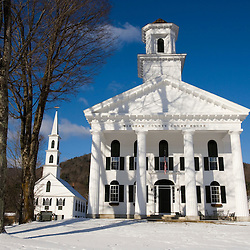 First Congregational Church of Newfane and the Windham County Court House on the town common in Newfane, Vermont.