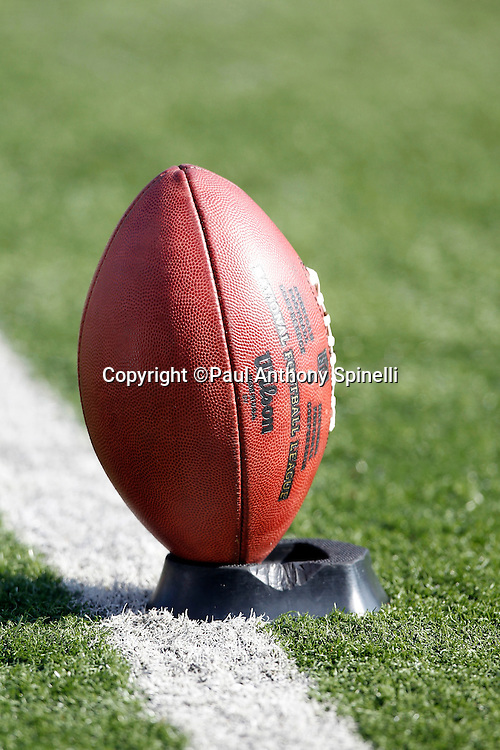 A ball sits on a tee during the Cincinnati Bengals NFL week 8 football game against the Miami Dolphins on Sunday, October 31, 2010 in Cincinnati, Ohio. The Dolphins won the game 22-14. (©Paul Anthony Spinelli)