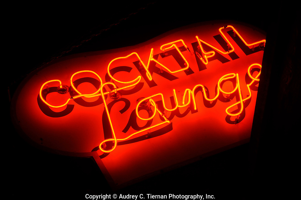 Riverhead, NY-- March 14, 2010:  A red neon Cocktail Lounge sign glows at night. © Audrey C. Tiernan