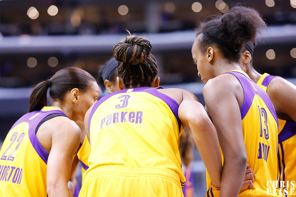 18 May 2014: Los Angeles Sparks players gather during the Phoenix Mercury 74-69 victory over the Los Angeles Sparks, at the Staples Center, Los Angeles, California, USA.