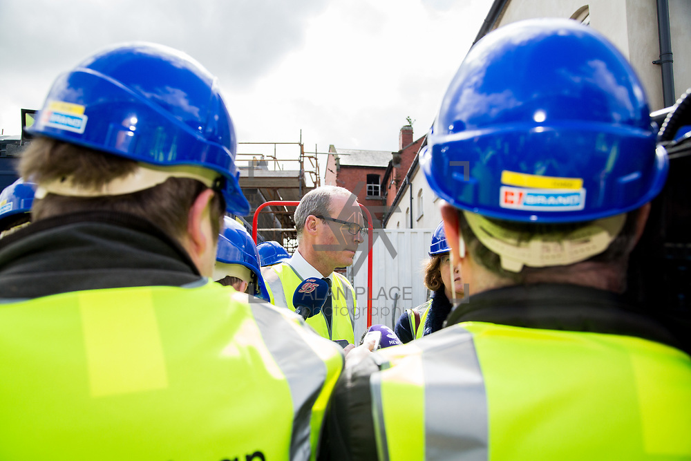 24.04.2017.       <br /> Minister for Housing Simon Coveney visiting the Lord Edward Street site in Limerick, where 81 units for social housing are nearing completion as part of the Limerick Regeneration programme.  57 of which are elderly units (1 and 2 bed apts and 2 bed houses) with the remainder (24) being family homes (3 bed)​. Picture: Alan Place.
