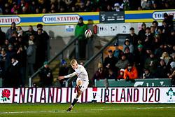 George Barton of England U20 kicks a conversion - Rogan/JMP - 21/02/2020 - Franklin's Gardens - Northampton, England - England U20 v Ireland U20 - Under 20 Six Nations.