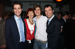 Left to right,  FRED SYKES, VALERIE GOAD, JOSH SYKES and TOM SYKES at a party to celebrate the publication of Tom Sykes's book 'What Did I Do Last Night?' held at Centuary, Shaftesbury Avenue, London on 16th January 2007.<br />