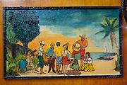 Mauritius. Painting of Sega dancers in the Taton Bar. Port Louis.