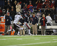 Ole Miss' Randall Mackey (1) makes a 68 yard reception vs. Texas A&M defensive back Tramain Jacobs (7) in Oxford, Miss. on Saturday, October 6, 2012. Texas A&M won 30-27...