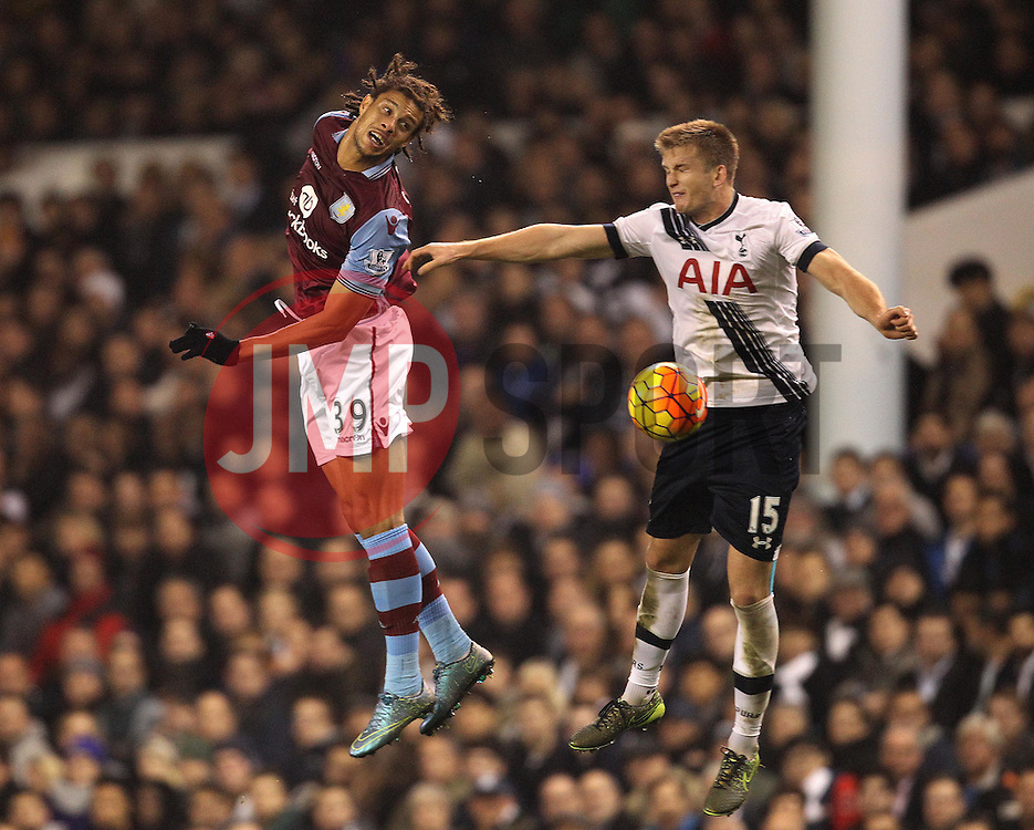 Rudy Gestede of Aston Villa and Eric Dier of Tottenham Hotspur battle for a header - Mandatory byline: Robbie Stephenson/JMP - 07966 386802 - 02/11/2015 - FOOTBALL - White Hart Lane - London, England - Tottenham Hotspur v Aston Villa - Barclays Premier League