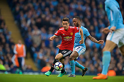 MANCHESTER, ENGLAND - Saturday, April 7, 2018: Manchester United's Ander Herrera (left) and Manchester City's Raheem Sterling during the FA Premier League match between Manchester City FC and Manchester United FC at the City of Manchester Stadium. (Pic by David Rawcliffe/Propaganda)
