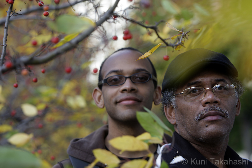 Robert Carter II, left, and his father Robert Carter of Jacksonville, Fla., at Millennium Park in downtown Chicago on November 5, 2008.
