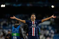Marquinhos of PSG celebs after the match UEFA Champions League match, groups between Real Madrid and Paris Saint Germain at Santiago Bernabeu Stadium in Madrid, Spain. November, Tuesday 26, 2019. Photo by Manu R.B./AlterPhotos/ABACAPRESS.COM