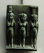 Triad depicting the Egyptian gods Horus, Isis and Nephthys